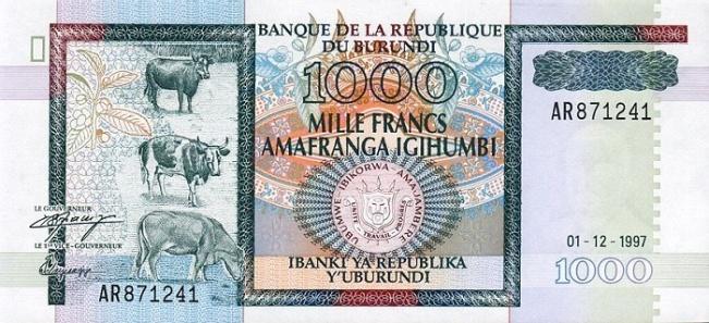 Бурундийский франк. Купюра номиналом в 1000 BIF, аверс (лицевая сторона).