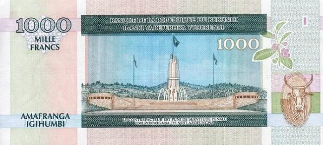 Бурундийский франк. Купюра номиналом в 1000 BIF, реверс (обратная сторона).