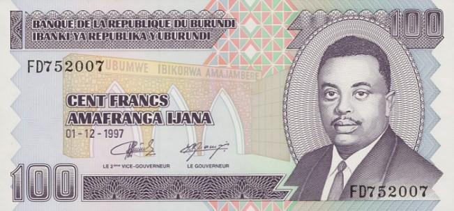 Бурундийский франк. Купюра номиналом в 100 BIF, аверс (лицевая сторона).