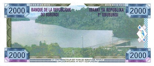 Бурундийский франк. Купюра номиналом в 2000 BIF, реверс (обратная сторона).