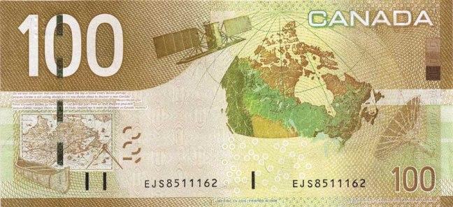Канадский доллар. Купюра номиналом в 100 CAD, реверс (обратная сторона).