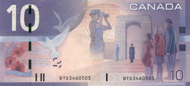 Канадский доллар. Купюра номиналом в 10 CAD, реверс (обратная сторона).