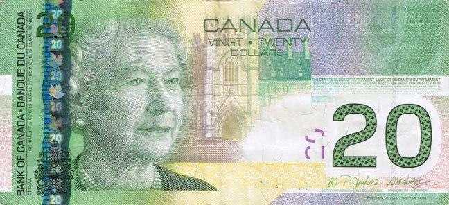 Канадский доллар. Купюра номиналом в 20 CAD, аверс (лицевая сторона).