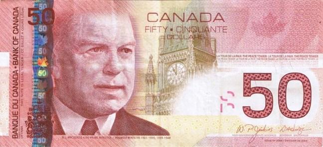Канадский доллар. Купюра номиналом в 50 CAD, аверс (лицевая сторона).