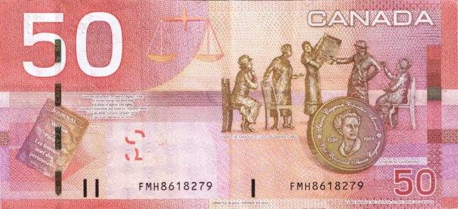 Канадский доллар. Купюра номиналом в 50 CAD, реверс (обратная сторона).
