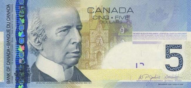 Канадский доллар. Купюра номиналом в 5 CAD, аверс (лицевая сторона).
