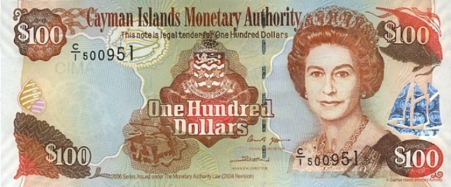 Каимановых островов доллар. Купюра номиналом в 100 KYD, аверс (лицевая сторона).