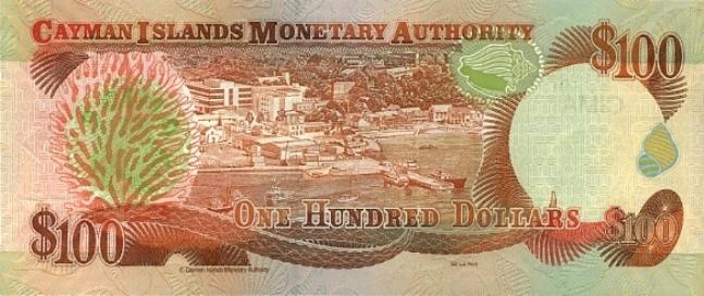 Каимановых островов доллар. Купюра номиналом в 100 KYD, реверс (обратная сторона).