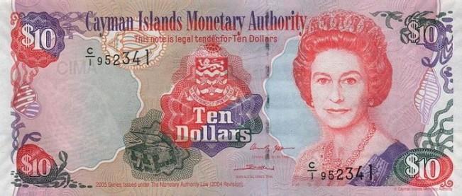 Каимановых островов доллар. Купюра номиналом в 10 KYD, аверс (лицевая сторона).