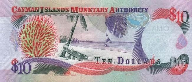 Каимановых островов доллар. Купюра номиналом в 10 KYD, реверс (обратная сторона).