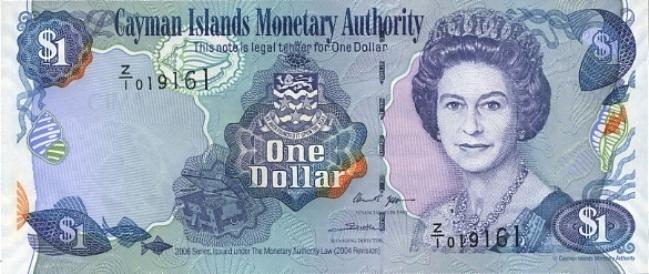 Каимановых островов доллар. Купюра номиналом в 1 KYD, аверс (лицевая сторона).