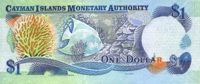 Каимановых островов доллар. Купюра номиналом в 1 KYD, реверс (обратная сторона).