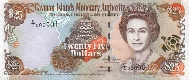 Каимановых островов доллар. Купюра номиналом в 25 KYD, аверс (лицевая сторона).