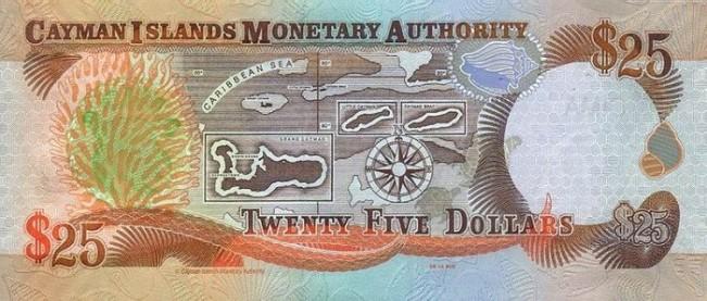 Каимановых островов доллар. Купюра номиналом в 25 KYD, реверс (обратная сторона).