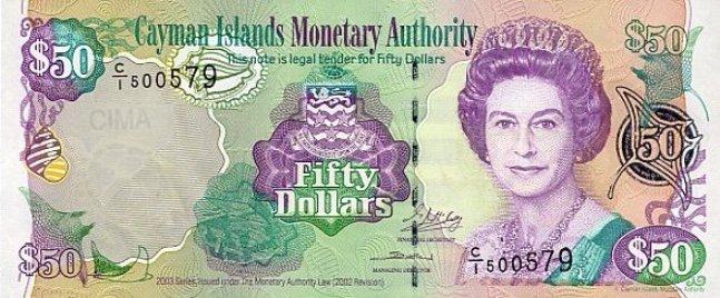 Каимановых островов доллар. Купюра номиналом в 50 KYD, аверс (лицевая сторона).
