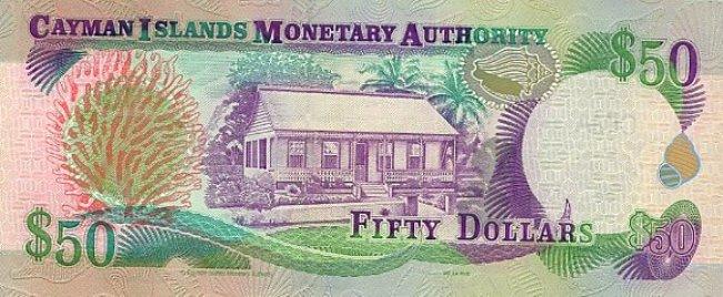 Каимановых островов доллар. Купюра номиналом в 50 KYD, реверс (обратная сторона).