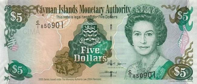 Каимановых островов доллар. Купюра номиналом в 5 KYD, аверс (лицевая сторона).