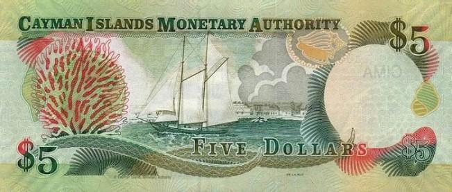 Каимановых островов доллар. Купюра номиналом в 5 KYD, реверс (обратная сторона).