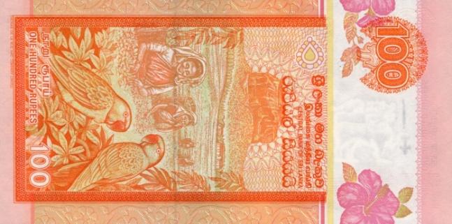 Шри-ланкийская рупия. Купюра номиналом в 100 LKR, реверс (обратная сторона).