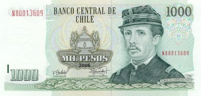 Чилийские песо. Купюра номиналом в 1000 CLP, аверс (лицевая сторона).