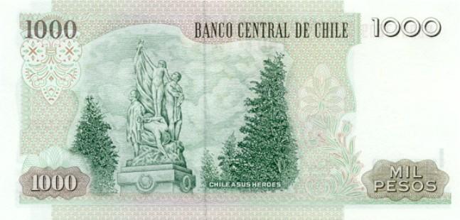 Чилийские песо. Купюра номиналом в 1000 CLP, реверс (обратная сторона).