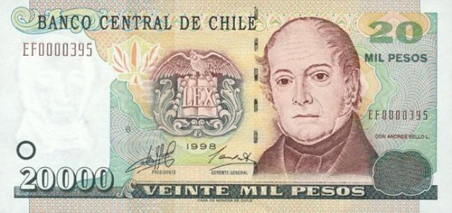 Чилийские песо. Купюра номиналом в 20000 CLP, аверс (лицевая сторона).