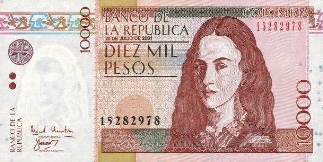 Колумбийский песо. Купюра номиналом в 10000 COP, аверс (лицевая сторона).