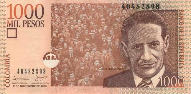 Колумбийский песо. Купюра номиналом в 1000 COP, аверс (лицевая сторона).