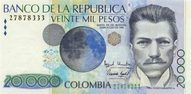 Колумбийский песо. Купюра номиналом в 20000 COP, аверс (лицевая сторона).