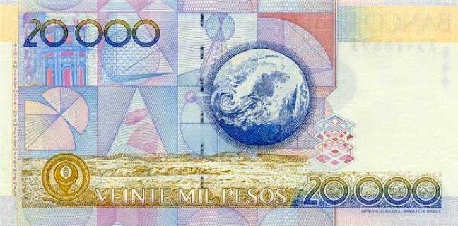 Колумбийский песо. Купюра номиналом в 20000 COP, реверс (обратная сторона).