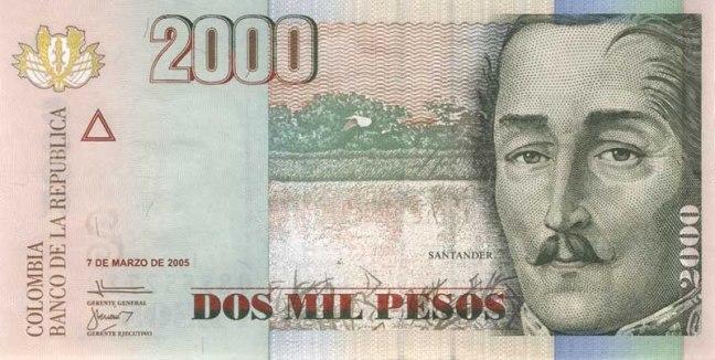 Колумбийский песо. Купюра номиналом в 2000 COP, аверс (лицевая сторона).