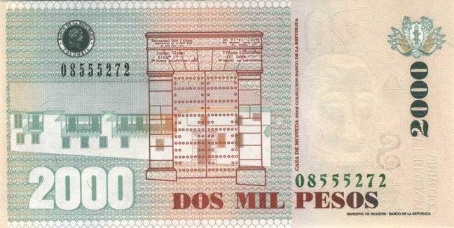 Колумбийский песо. Купюра номиналом в 2000 COP, реверс (обратная сторона).