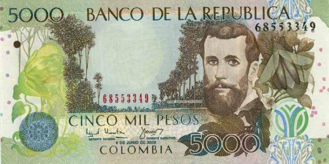 Колумбийский песо. Купюра номиналом в 5000 COP, аверс (лицевая сторона).