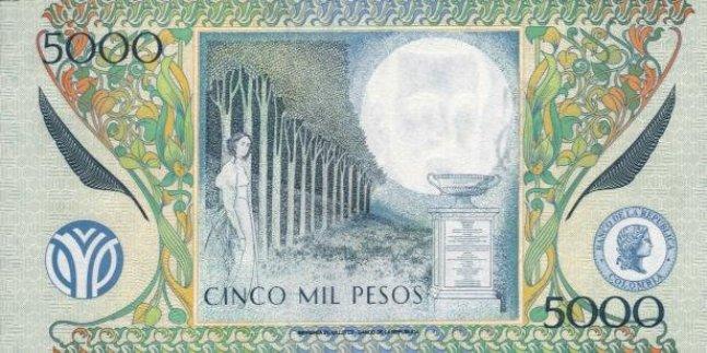 Колумбийский песо. Купюра номиналом в 5000 COP, реверс (обратная сторона).