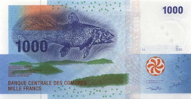 Франк Коморских островов. Купюра номиналом в 1000 KMF, аверс (лицевая сторона).