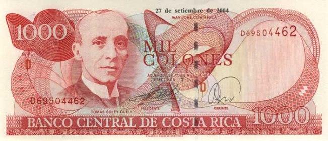 Костариканский колон. Купюра номиналом в 1000 СRC, аверс (лицевая сторона).