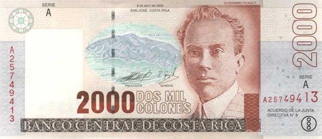 Костариканский колон. Купюра номиналом в 2000 СRC, аверс (лицевая сторона).