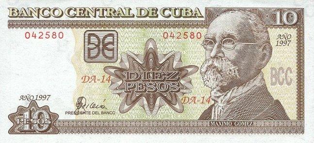 Кубинский песо. Купюра номиналом в 10 CUP, аверс (лицевая сторона).