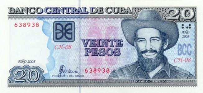Кубинский песо. Купюра номиналом в 20 CUP, аверс (лицевая сторона).