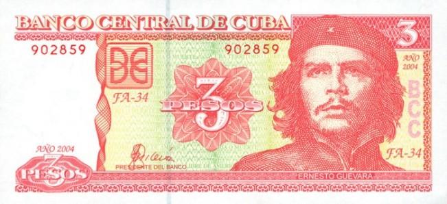 Кубинский песо. Купюра номиналом в 3 CUP, аверс (лицевая сторона).