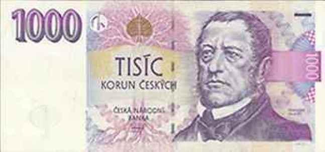 Чешская крона. Купюра номиналом в 1000 CZK, аверс (лицевая сторона).