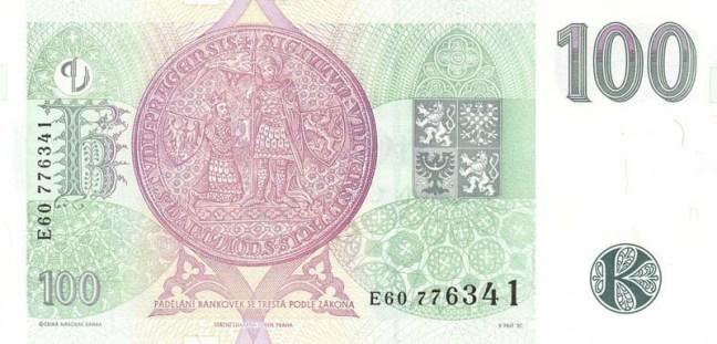 Чешская крона. Купюра номиналом в 100 CZK, реверс (обратная сторона).