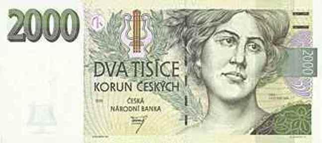 Чешская крона. Купюра номиналом в 2000 CZK, аверс (лицевая сторона).