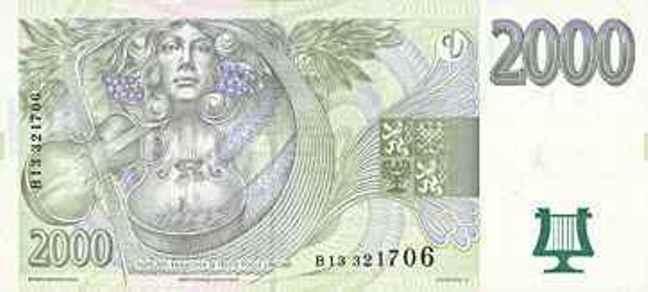 Чешская крона. Купюра номиналом в 2000 CZK, реверс (обратная сторона).