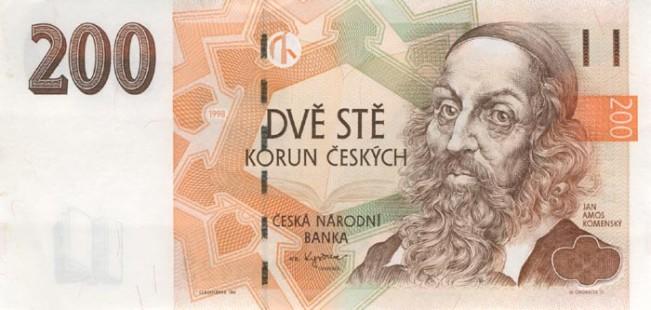 Чешская крона. Купюра номиналом в 200 CZK, аверс (лицевая сторона).