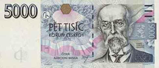 Чешская крона. Купюра номиналом в 5000 CZK, аверс (лицевая сторона).