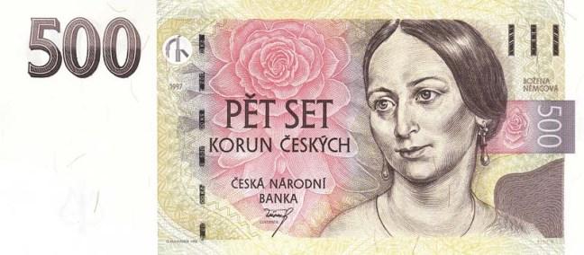 Чешская крона. Купюра номиналом в 500 CZK, аверс (лицевая сторона).
