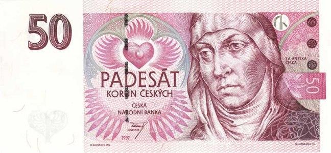 Чешская крона. Купюра номиналом в 50 CZK, аверс (лицевая сторона).