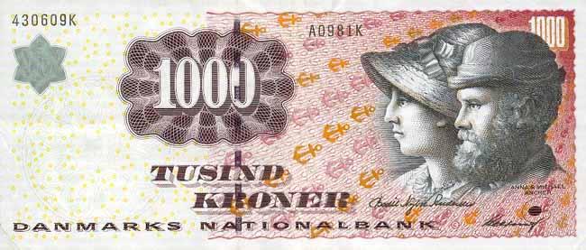 Датская крона. Купюра номиналом в 1000 DKK, аверс (лицевая сторона).