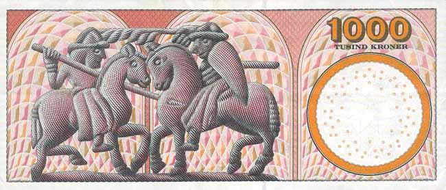 Датская крона. Купюра номиналом в 1000 DKK, реверс (обратная сторона).